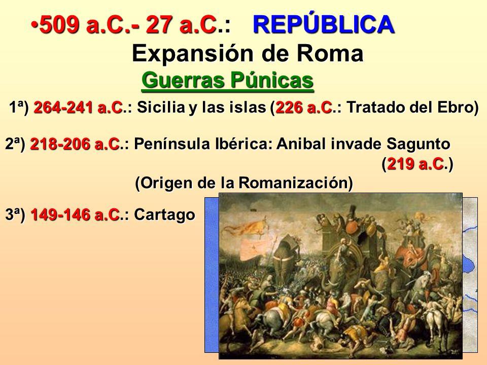 509 a.C.- 27 a.C.: REPÚBLICA509 a.C.- 27 a.C.: REPÚBLICA Expansión de Roma Expansión de Roma Guerras Púnicas 1ª) 264-241 a.C.: Sicilia y las islas (22