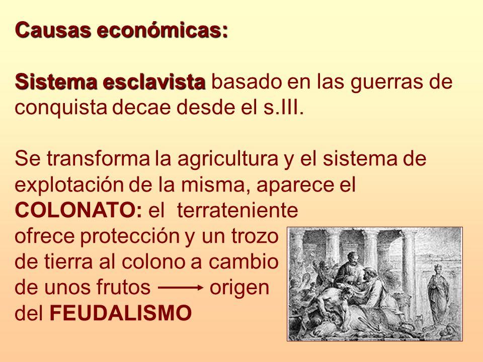 Causas económicas: Sistema esclavista Sistema esclavista basado en las guerras de conquista decae desde el s.III. Se transforma la agricultura y el si