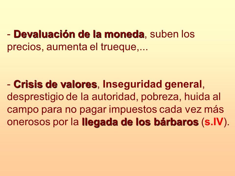 Devaluación de la moneda - Devaluación de la moneda, suben los precios, aumenta el trueque,... Crisis de valores llegada de los bárbaros - Crisis de v