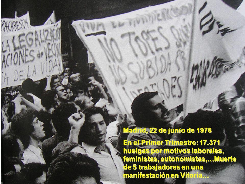 Madrid, 22 de junio de 1976 En el Primer Trimestre: 17.371 huelgas por motivos laborales, feministas, autonomistas,…Muerte de 5 trabajadores en una ma