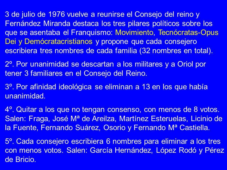 3 de julio de 1976 vuelve a reunirse el Consejo del reino y Fernández Miranda destaca los tres pilares políticos sobre los que se asentaba el Franquis