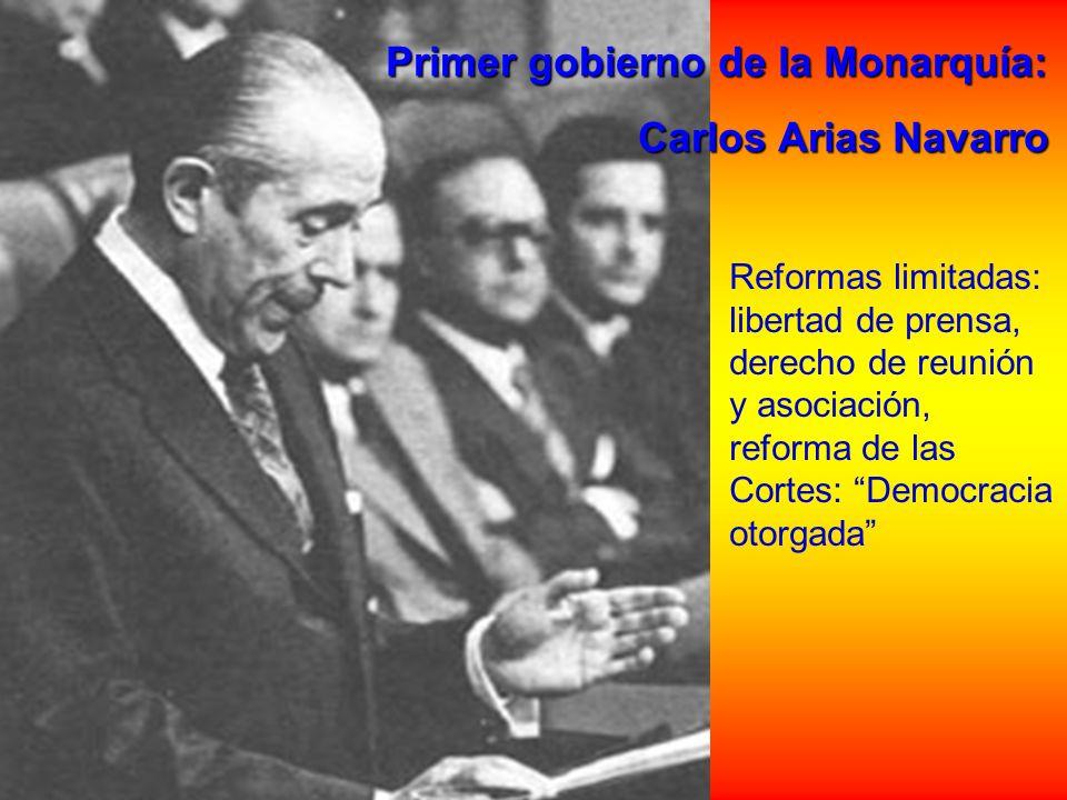 Primer gobierno de la Monarquía: Primer gobierno de la Monarquía: Carlos Arias Navarro Carlos Arias Navarro Reformas limitadas: libertad de prensa, de