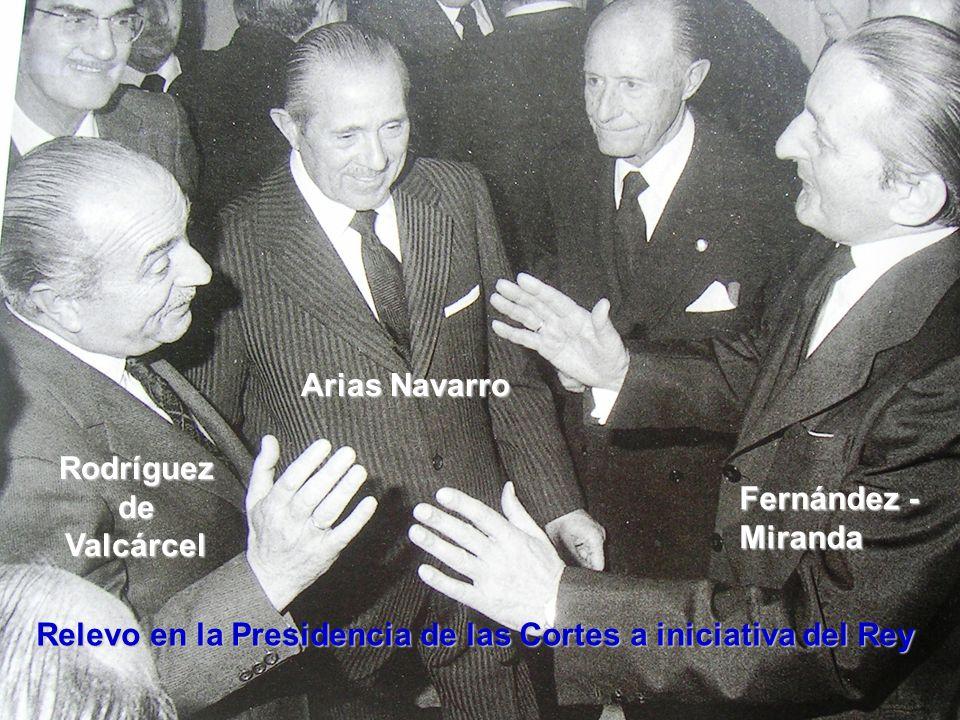 Rodríguez de Valcárcel Arias Navarro Fernández - Miranda Relevo en la Presidencia de las Cortes a iniciativa del Rey