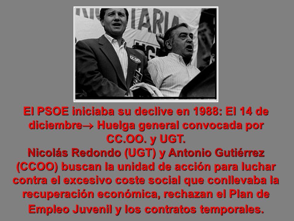 El PSOE iniciaba su declive en 1988: El 14 de diciembre Huelga general convocada por CC.OO. y UGT. Nicolás Redondo (UGT) y Antonio Gutiérrez (CCOO) bu