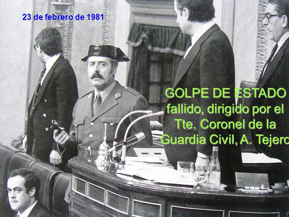 23 de febrero de 1981 Jaime Milans del Bosch, Teniente General Alfonso Armada, 2º Jefe de Estado Mayor Comandante Ricardo Pardo Zancada Tte.