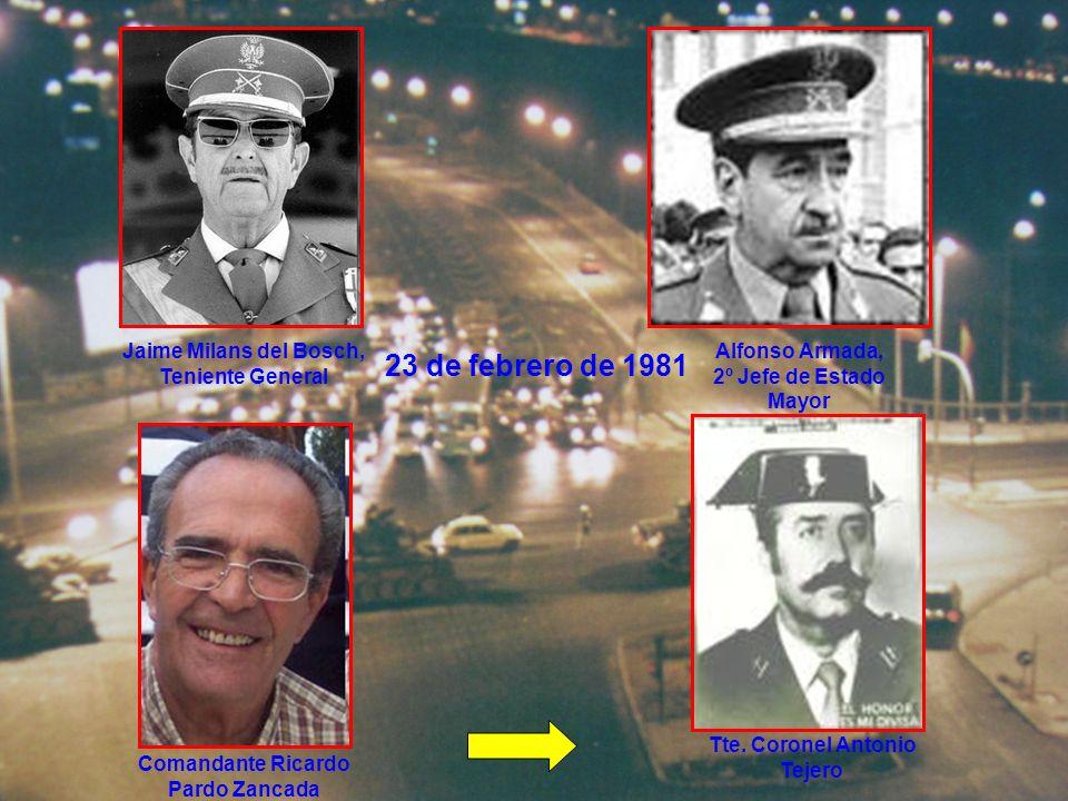 23 de febrero de 1981 Sabino Fernández Campos, Jefe de la Casa del Rey José Aramburu Topete, director de la Guardia Civil Ricardo Sáenz de Santamaría, Jefe de la Policía Nacional Gral.