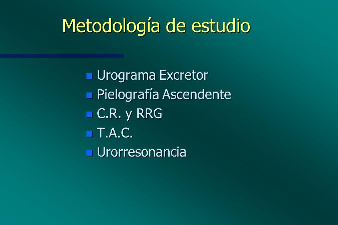 Metodología de estudio n Urograma Excretor n Pielografía Ascendente n C.R. y RRG n T.A.C. n Urorresonancia