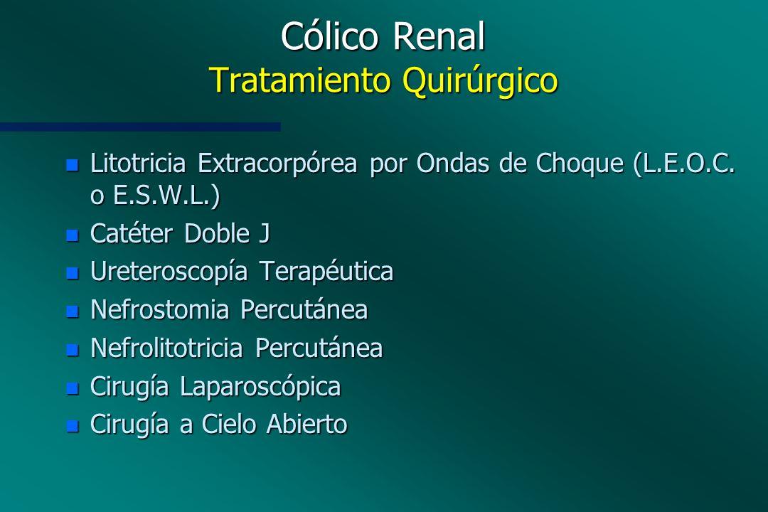 Cólico Renal Tratamiento Quirúrgico n Litotricia Extracorpórea por Ondas de Choque (L.E.O.C. o E.S.W.L.) n Catéter Doble J n Ureteroscopía Terapéutica