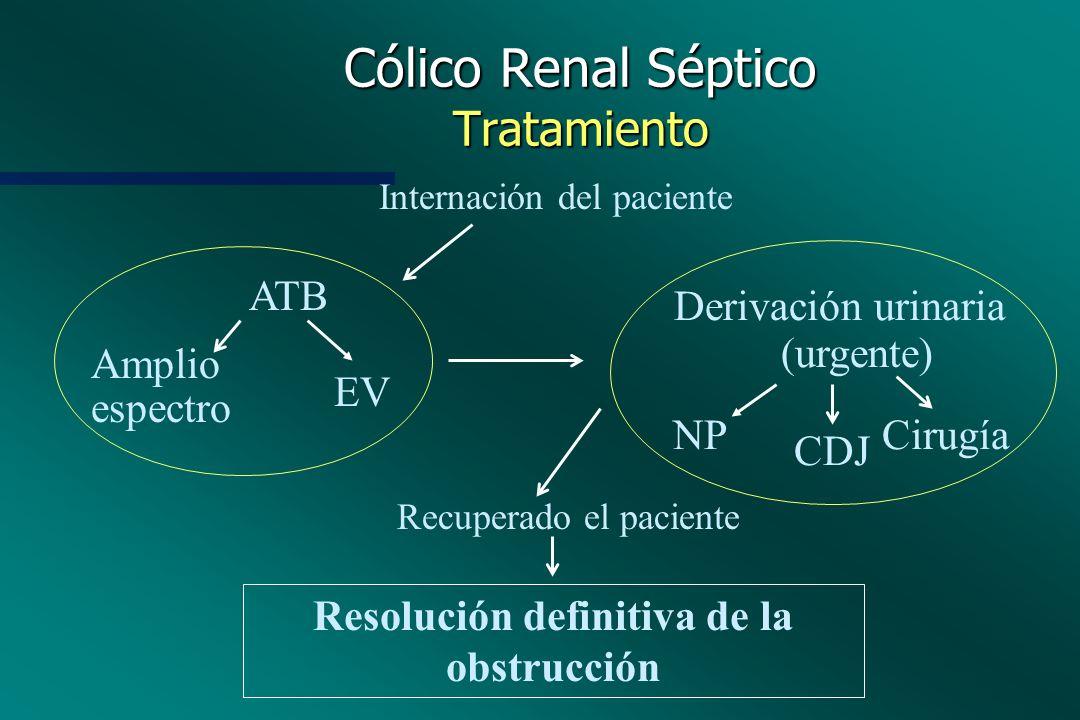 Cólico Renal Séptico Tratamiento Internación del paciente ATB Derivación urinaria (urgente) NP CDJ Cirugía Amplio espectro EV Recuperado el paciente R