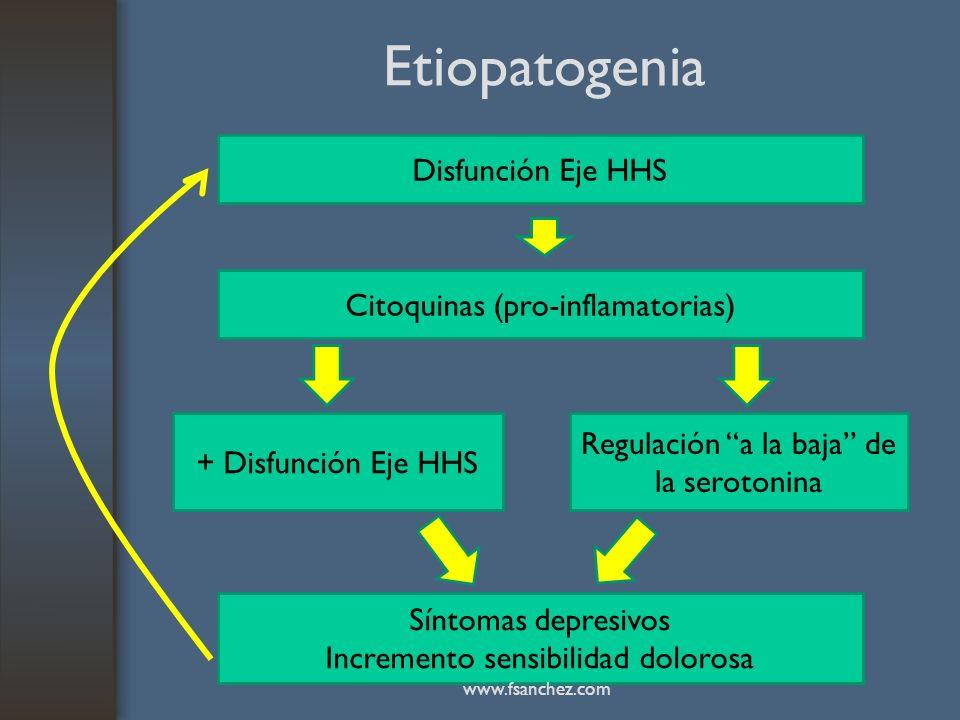 Etiopatogenia Disfunción Eje HHS Citoquinas (pro-inflamatorias) Síntomas depresivos Incremento sensibilidad dolorosa + Disfunción Eje HHS Regulación a
