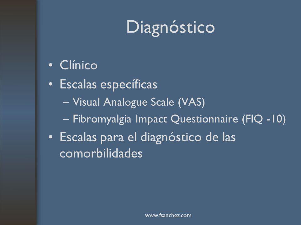 Diagnóstico Clínico Escalas específicas –Visual Analogue Scale (VAS) –Fibromyalgia Impact Questionnaire (FIQ -10) Escalas para el diagnóstico de las c