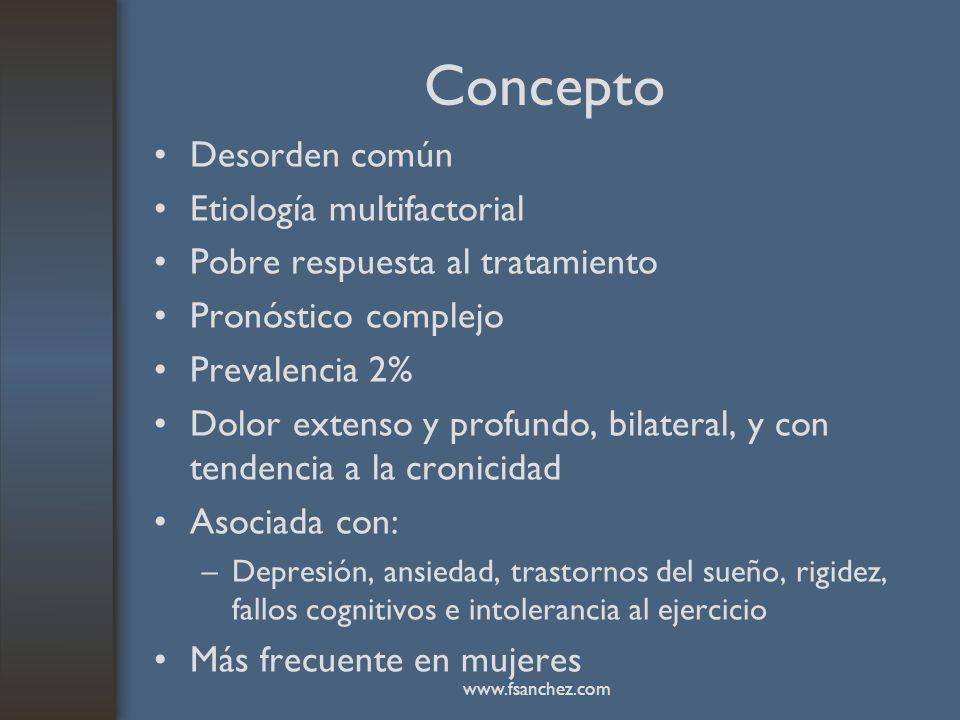 Concepto Desorden común Etiología multifactorial Pobre respuesta al tratamiento Pronóstico complejo Prevalencia 2% Dolor extenso y profundo, bilateral