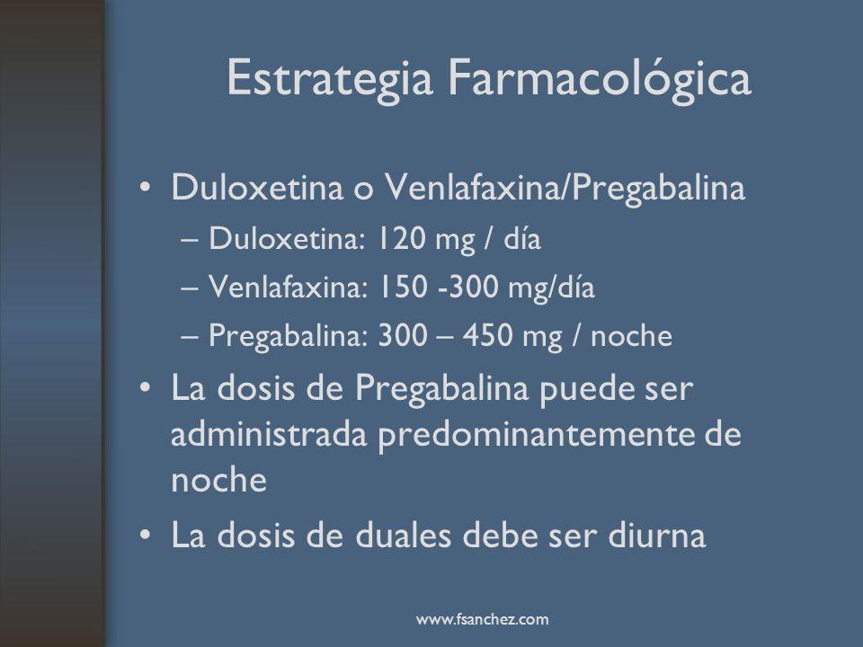 Estrategia Farmacológica Duloxetina o Venlafaxina/Pregabalina –Duloxetina: 120 mg / día –Venlafaxina: 150 -300 mg/día –Pregabalina: 300 – 450 mg / noc