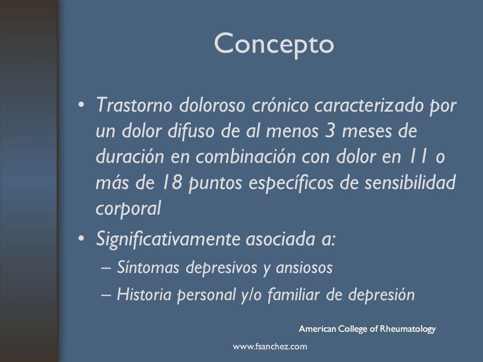 Concepto Trastorno doloroso crónico caracterizado por un dolor difuso de al menos 3 meses de duración en combinación con dolor en 11 o más de 18 punto