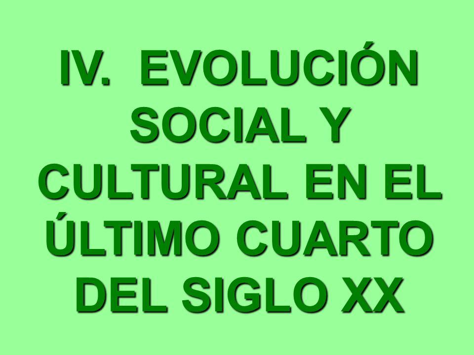 IV. EVOLUCIÓN SOCIAL Y CULTURAL EN EL ÚLTIMO CUARTO DEL SIGLO XX