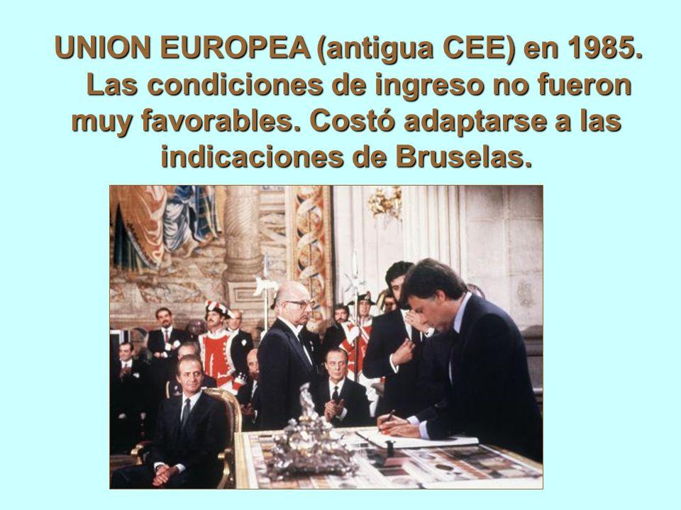 UNION EUROPEA (antigua CEE) en 1985. Las condiciones de ingreso no fueron muy favorables.