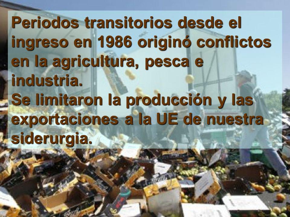 Periodos transitorios desde el ingreso en 1986 originó conflictos en la agricultura, pesca e industria.