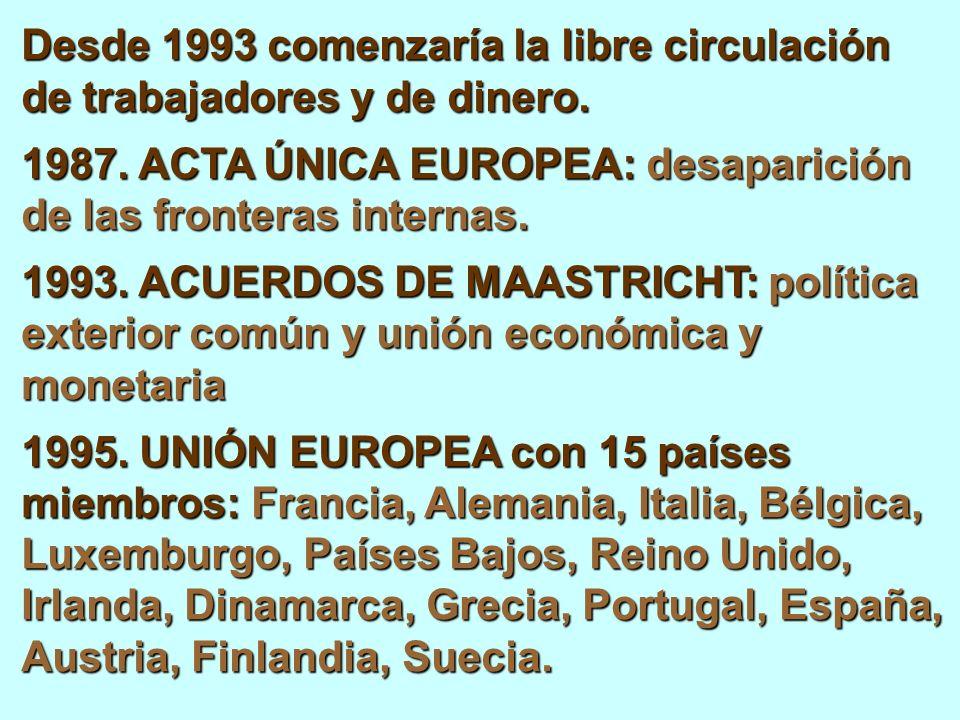Desde 1993 comenzaría la libre circulación de trabajadores y de dinero.