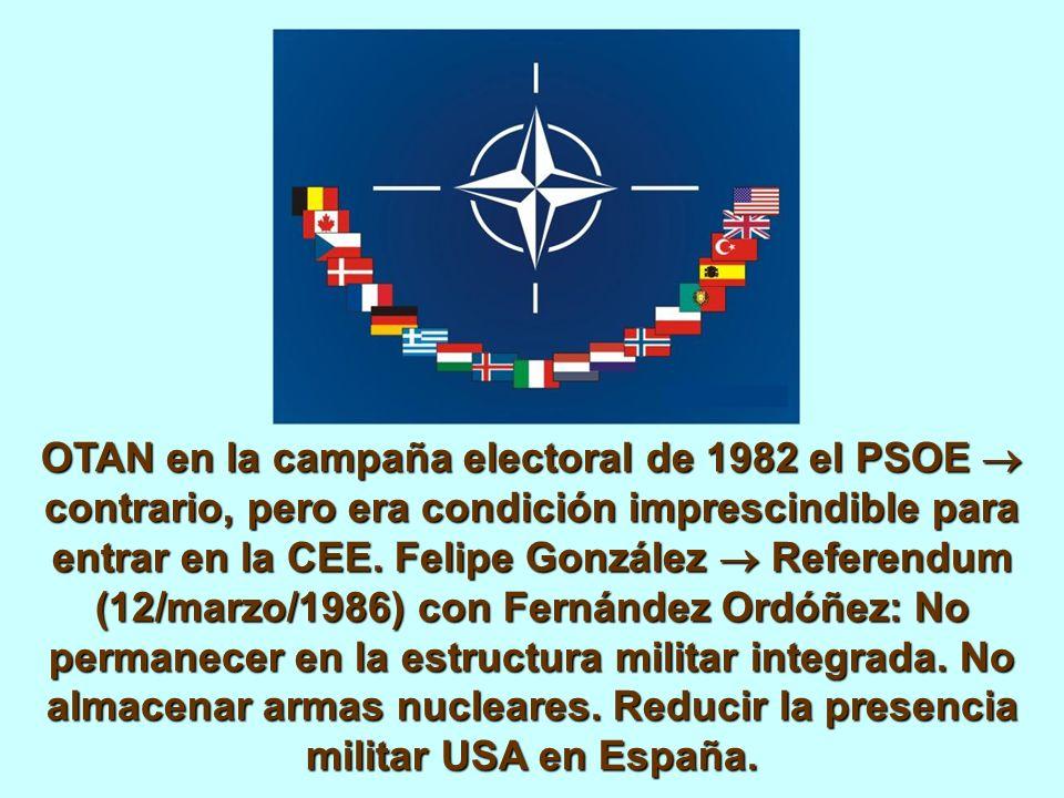 OTAN en la campaña electoral de 1982 el PSOE contrario, pero era condición imprescindible para entrar en la CEE.