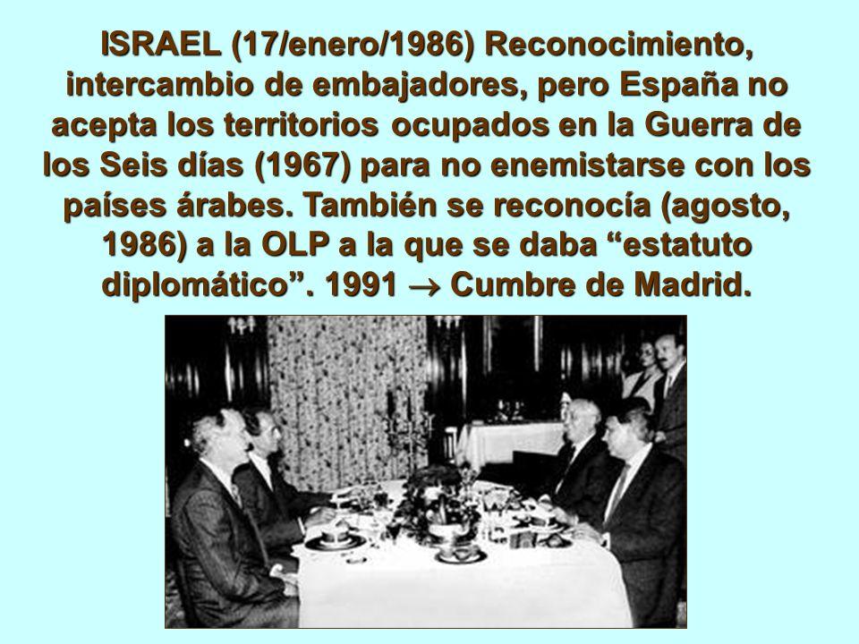 ISRAEL (17/enero/1986) Reconocimiento, intercambio de embajadores, pero España no acepta los territorios ocupados en la Guerra de los Seis días (1967) para no enemistarse con los países árabes.