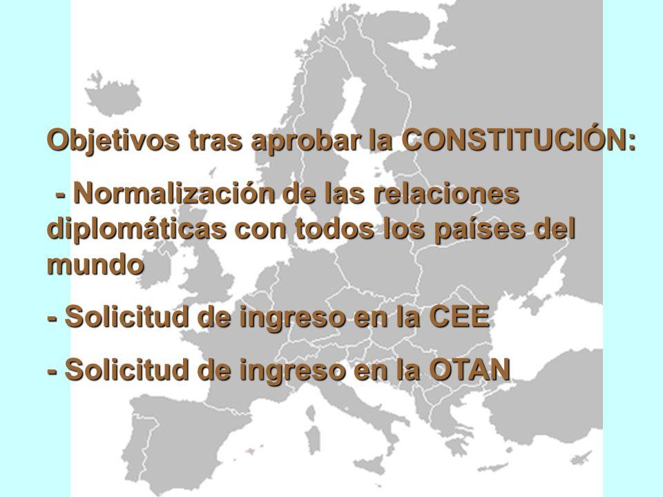 Objetivos tras aprobar la CONSTITUCIÓN: - Normalización de las relaciones diplomáticas con todos los países del mundo - Normalización de las relaciones diplomáticas con todos los países del mundo - Solicitud de ingreso en la CEE - Solicitud de ingreso en la OTAN