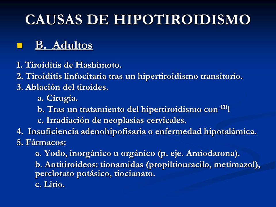 A. BURGOS M CAUSAS DE HIPOTIROIDISMO B. Adultos B. Adultos 1. Tiroiditis de Hashimoto. 2. Tiroiditis linfocitaria tras un hipertiroidismo transitorio.