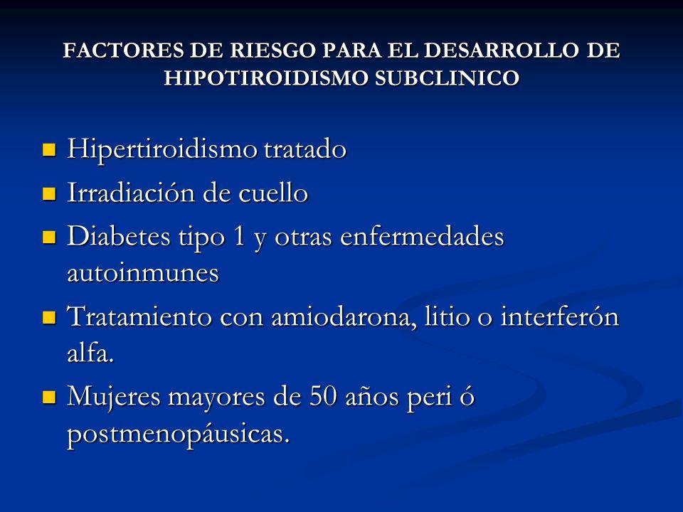 A. BURGOS M FACTORES DE RIESGO PARA EL DESARROLLO DE HIPOTIROIDISMO SUBCLINICO Hipertiroidismo tratado Hipertiroidismo tratado Irradiación de cuello I