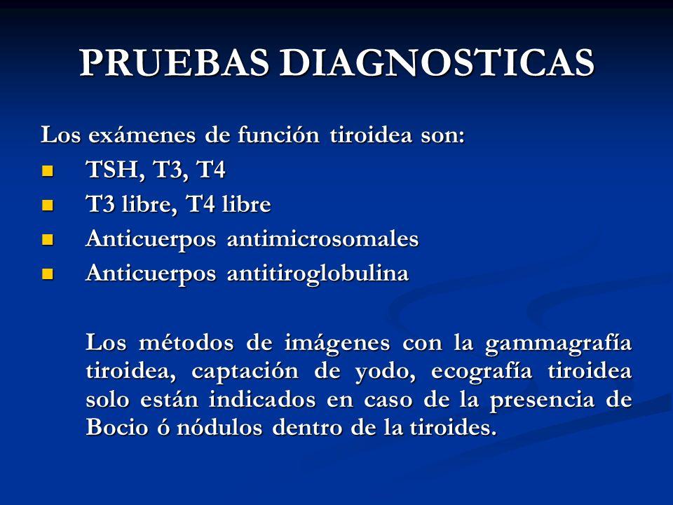A. BURGOS M PRUEBAS DIAGNOSTICAS Los exámenes de función tiroidea son: TSH, T3, T4 TSH, T3, T4 T3 libre, T4 libre T3 libre, T4 libre Anticuerpos antim