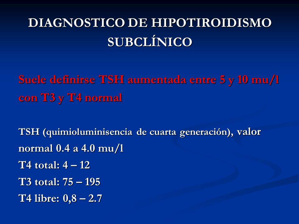 A. BURGOS M DIAGNOSTICO DE HIPOTIROIDISMO SUBCLÍNICO Suele definirse TSH aumentada entre 5 y 10 mu/l con T3 y T4 normal TSH (quimioluminisencia de cua