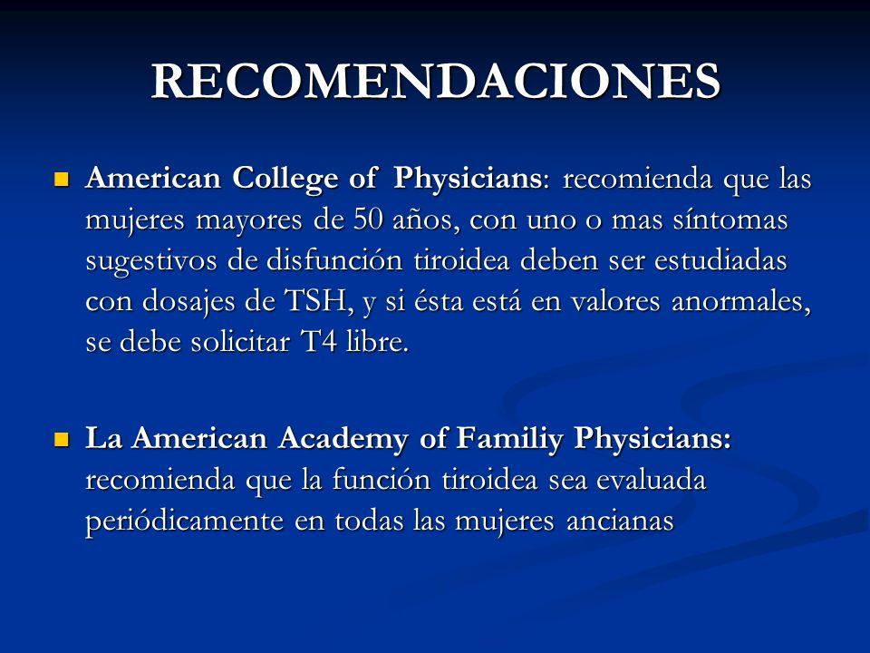 A. BURGOS M RECOMENDACIONES American College of Physicians: recomienda que las mujeres mayores de 50 años, con uno o mas síntomas sugestivos de disfun