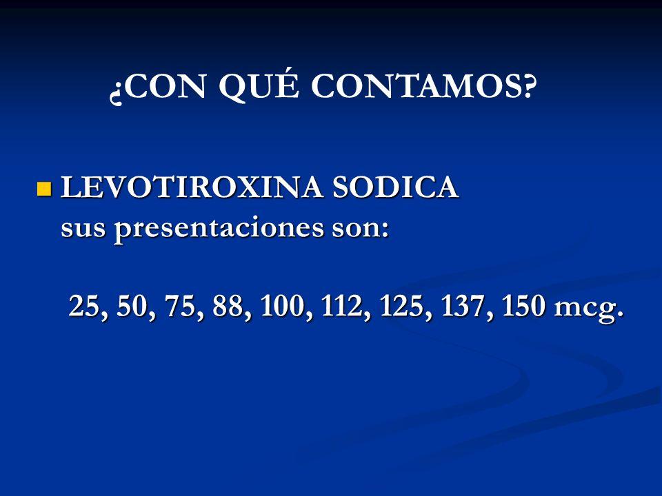 A. BURGOS M LEVOTIROXINA SODICA LEVOTIROXINA SODICA sus presentaciones son: sus presentaciones son: 25, 50, 75, 88, 100, 112, 125, 137, 150 mcg. 25, 5