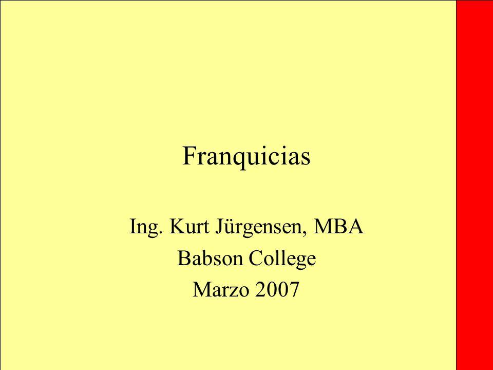 Franquicias Ing. Kurt Jürgensen, MBA Babson College Marzo 2007