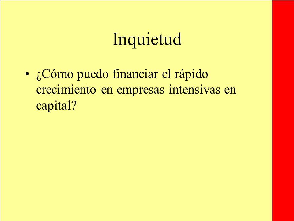 Inquietud ¿Cómo puedo financiar el rápido crecimiento en empresas intensivas en capital.