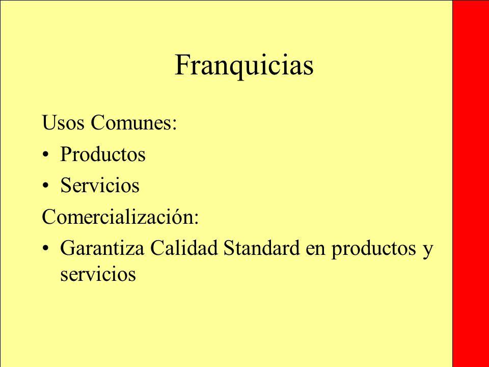 Franquicias Usos Comunes: Productos Servicios Comercialización: Garantiza Calidad Standard en productos y servicios