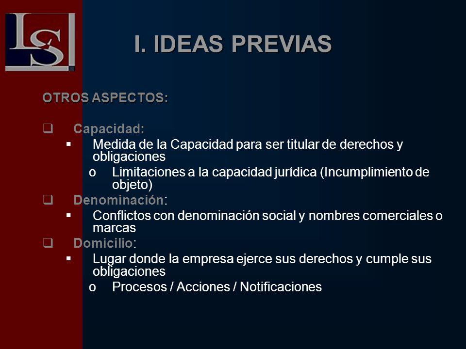 I. IDEAS PREVIAS OTROS ASPECTOS: Capacidad: Medida de la Capacidad para ser titular de derechos y obligaciones oLimitaciones a la capacidad jurídica (
