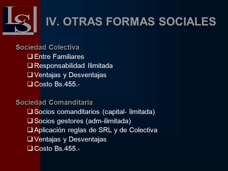 IV. OTRAS FORMAS SOCIALES Sociedad Colectiva Entre Familiares Responsabilidad Ilimitada Ventajas y Desventajas Costo Bs.455.- Sociedad Comanditaria So