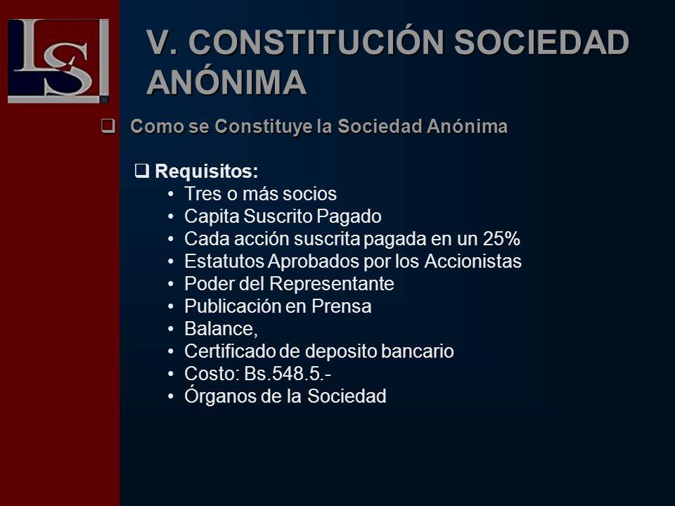 V. CONSTITUCIÓN SOCIEDAD ANÓNIMA C Como se Constituye la Sociedad Anónima Requisitos: Tres o más socios Capita Suscrito Pagado Cada acción suscrita pa