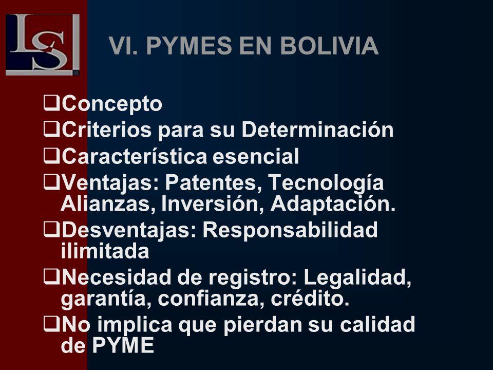 VI. PYMES EN BOLIVIA Concepto Criterios para su Determinación Característica esencial Ventajas: Patentes, Tecnología Alianzas, Inversión, Adaptación.