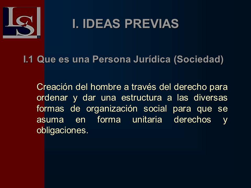 I. IDEAS PREVIAS I.1 Que es una Persona Jurídica (Sociedad) Creación del hombre a través del derecho para ordenar y dar una estructura a las diversas
