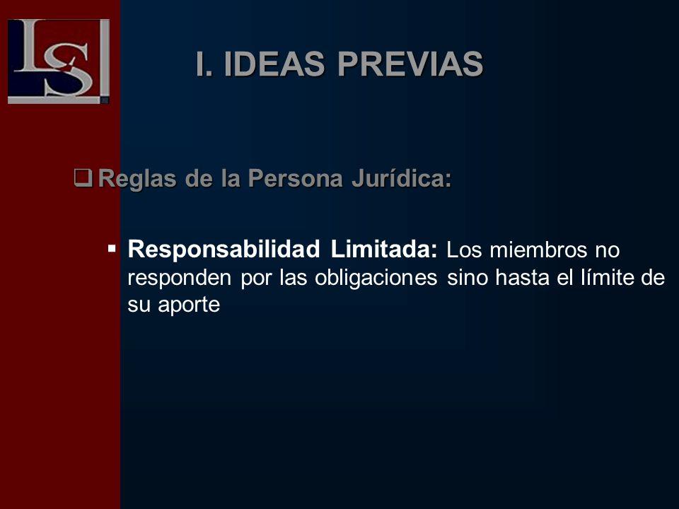 I. IDEAS PREVIAS Reglas de la Persona Jurídica: Reglas de la Persona Jurídica: Responsabilidad Limitada: Los miembros no responden por las obligacione