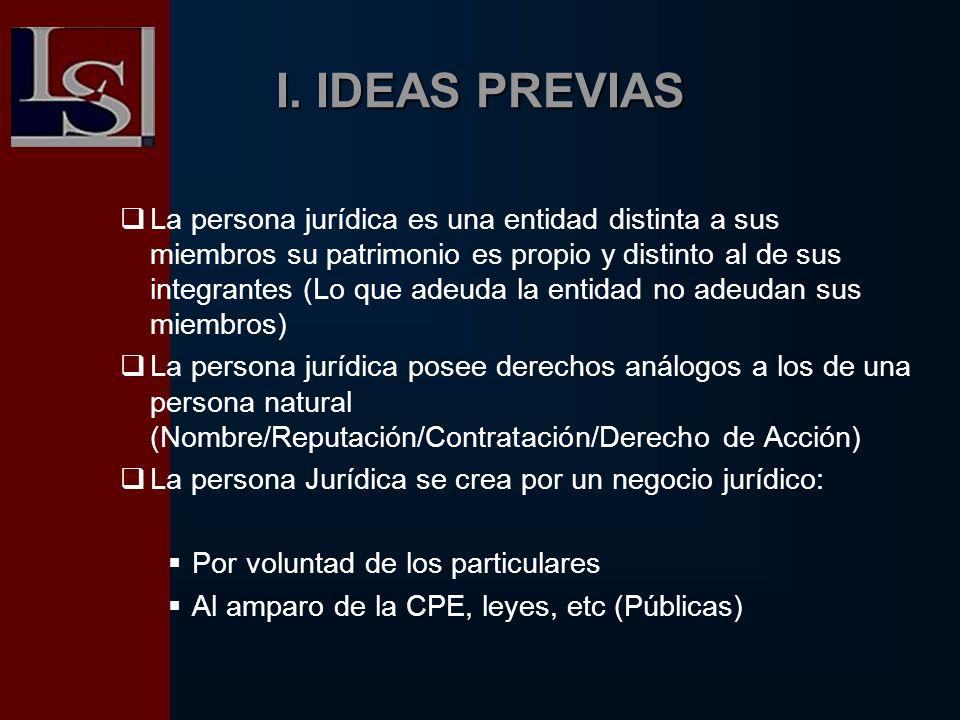 I. IDEAS PREVIAS La persona jurídica es una entidad distinta a sus miembros su patrimonio es propio y distinto al de sus integrantes (Lo que adeuda la