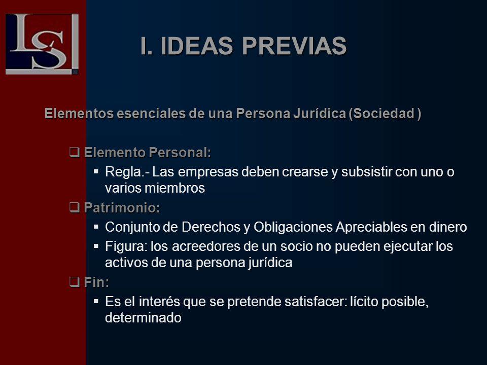 I. IDEAS PREVIAS Elementos esenciales de una Persona Jurídica (Sociedad ) Elemento Personal: Elemento Personal: Regla.- Las empresas deben crearse y s
