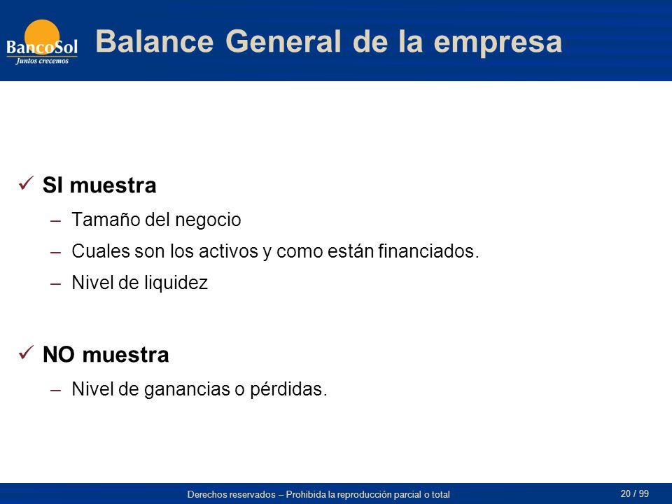 Derechos reservados – Prohibida la reproducción parcial o total 20 / 99 Balance General de la empresa SI muestra –Tamaño del negocio –Cuales son los activos y como están financiados.