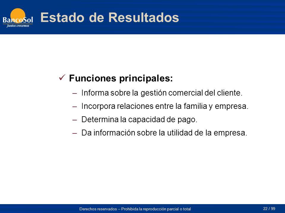 Derechos reservados – Prohibida la reproducción parcial o total 22 / 99 Estado de Resultados Funciones principales: –Informa sobre la gestión comercial del cliente.