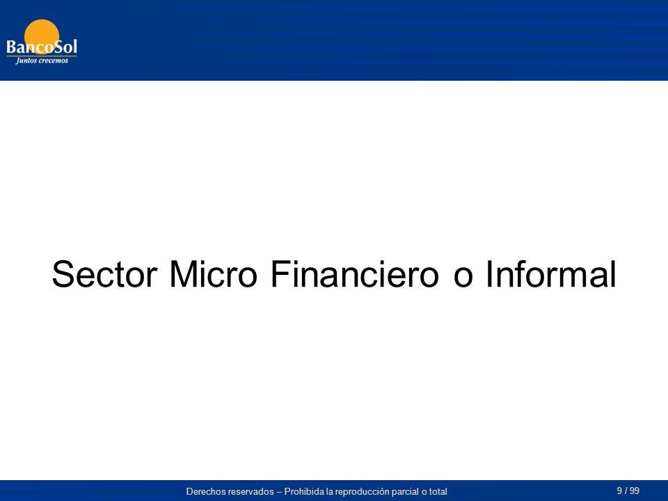 Derechos reservados – Prohibida la reproducción parcial o total 9 / 99 Sector Micro Financiero o Informal