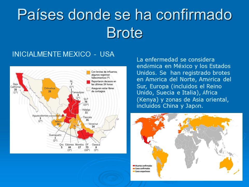 Países donde se ha confirmado Brote INICIALMENTE MEXICO - USA La enfermedad se considera end é mica en México y los Estados Unidos. Se han registrado