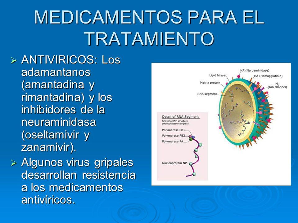 MEDICAMENTOS PARA EL TRATAMIENTO ANTIVIRICOS: Los adamantanos (amantadina y rimantadina) y los inhibidores de la neuraminidasa (oseltamivir y zanamivi