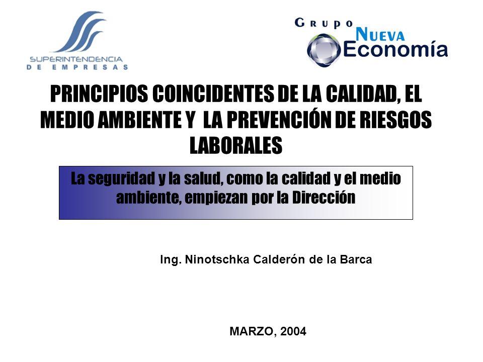 La seguridad y la salud, como la calidad y el medio ambiente, es un proyecto permanente PRINCIPIOS COINCIDENTES DE LA CALIDAD, EL MEDIO AMBIENTE Y LA PREVENCIÓN DE RIESGOS LABORALES