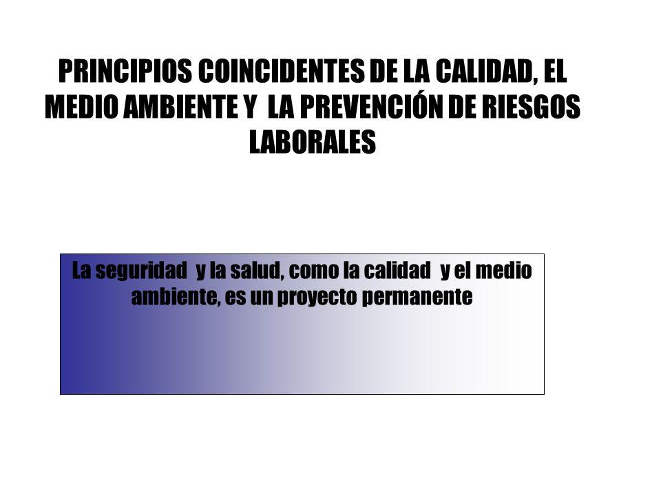 La seguridad y la salud, como la calidad y el medio ambiente, es un proyecto permanente PRINCIPIOS COINCIDENTES DE LA CALIDAD, EL MEDIO AMBIENTE Y LA