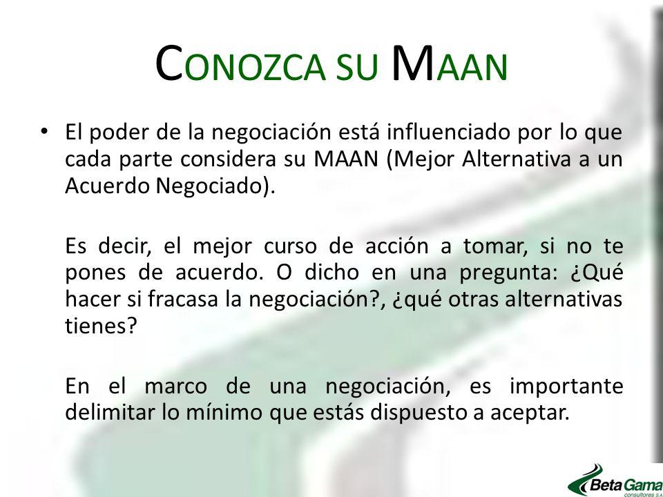 C ONOZCA SU M AAN El poder de la negociación está influenciado por lo que cada parte considera su MAAN (Mejor Alternativa a un Acuerdo Negociado). Es